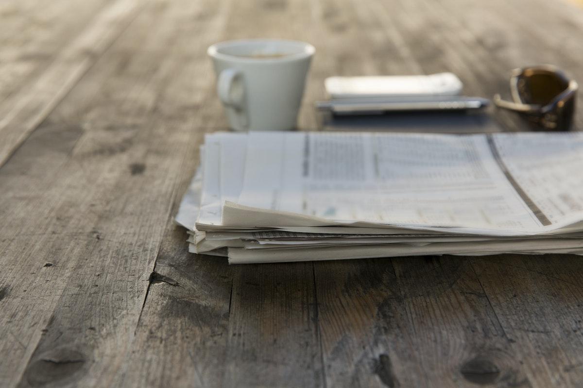newspaper on table
